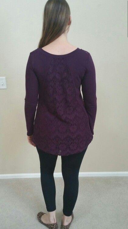 Dark Purple Le Lis Woodburn Lace Back Knit Top (Medium)