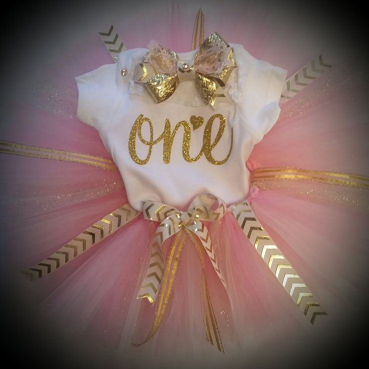 First birthday pink and gold tutu by TutusOfHeaven on Etsy