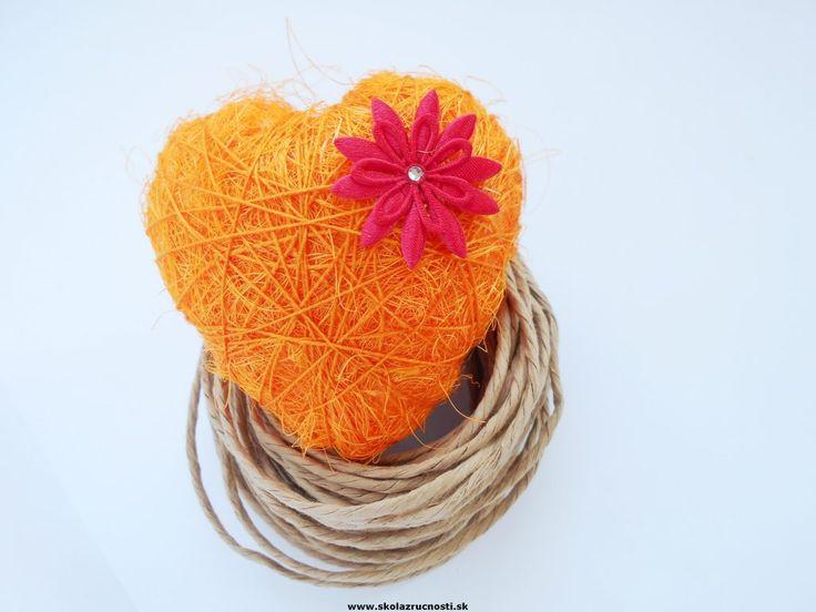polystyrén srdce sisal styro heart orange