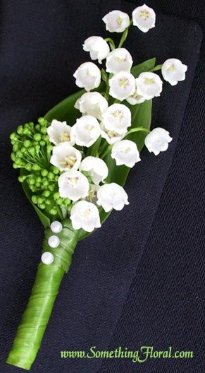 Fresh lily of the valley groom's boutonniere designed by Something Floral / Something Spectacular, Warren, MI.
