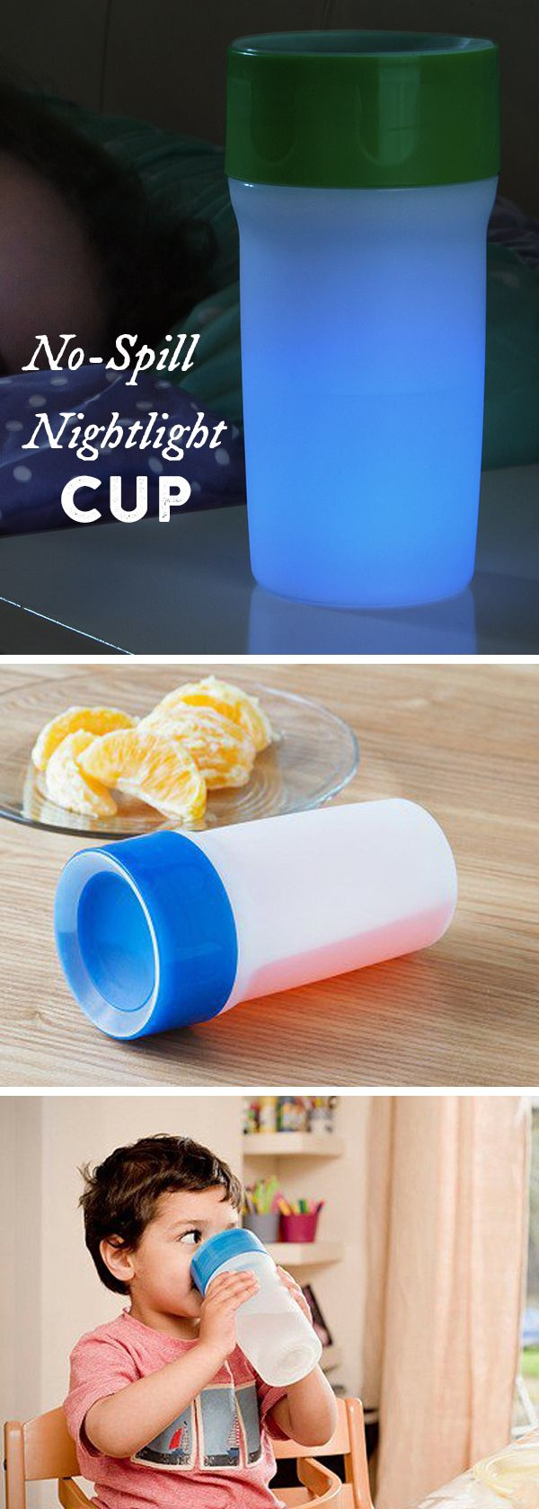 Half spill-proof cup, half soft, glowing nightlight. The 360º valve lets you drink anywhere around the rim, then shuts to stop spills.