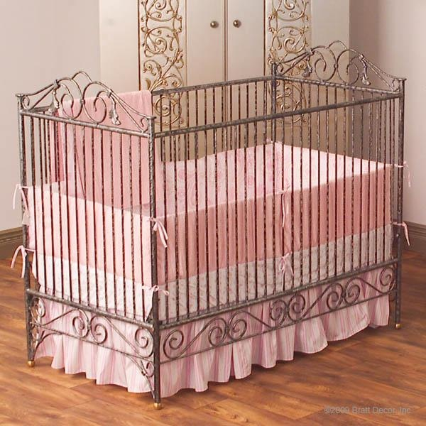 This crib features a stationary gate. Casablanca premiere in slate drips of old world elegance. Made of all hand bent wrought iron this gorgeous heirloom crib is simplicity and grandeur made real. The quality is exceptional, and the powder coated finishwith a hand distressed top coat ensures lifelong wear.
