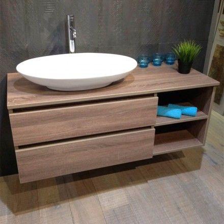 Meuble salle de bain Chêne foncé 120 cm, 2 tiroirs, Terra