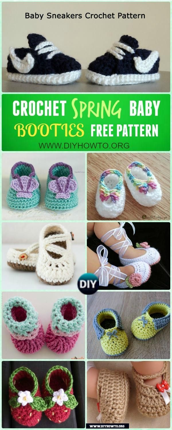 Crochet Baby Booties Slippers for Spring and Crib Walkers, Easy Quick Crochet Gifts for Baby girl and boy via /diyhowto/