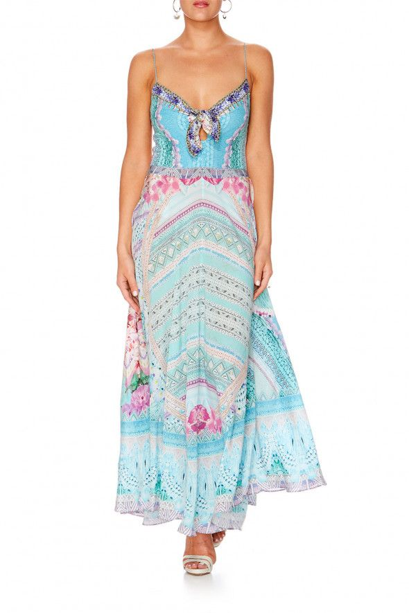 Camilla - Garden State Long Dress With Tie Front