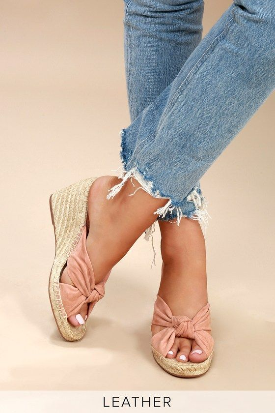 8430a1e7a22 Bautista Blush Suede Leather Espadrille Slide Wedges in 2019 | My ...