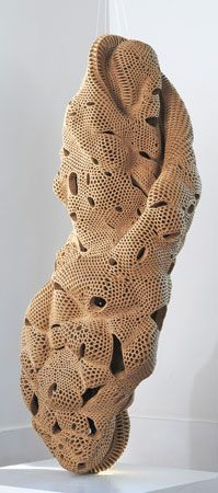 by Norie Hatakeyama, Japan, from Complex Plaiting Series, a set of sculptures made from plaited woven paper strips WHAAAAT