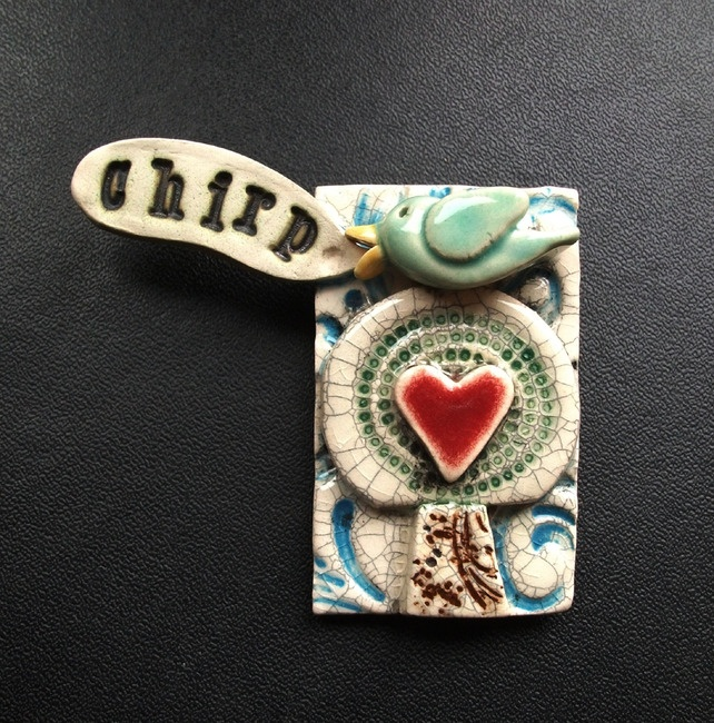little ceramic bird brooch chirp £12.50