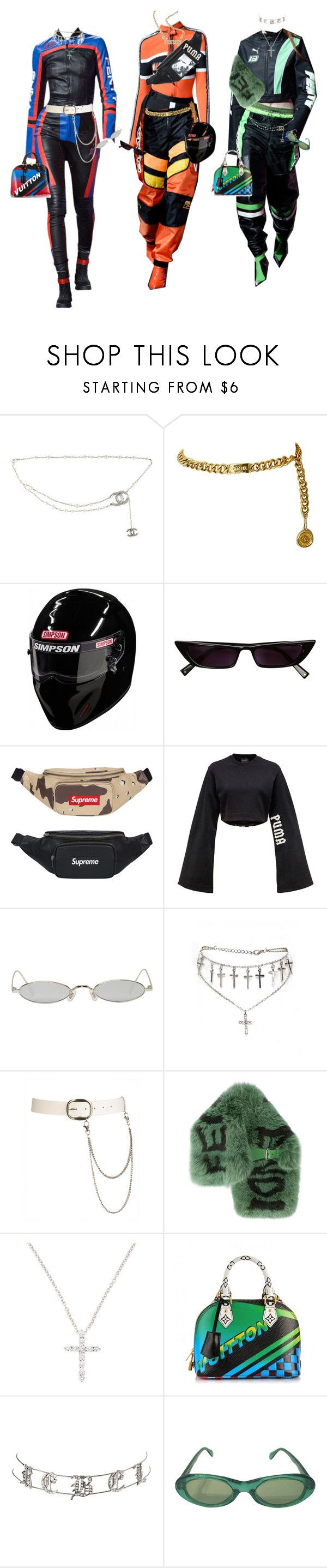 """motorsport"" by keithmontgom ❤ liked on Polyvore featuring Puma, Chanel, Gentle Monster, Wet Seal, Fendi, Nephora, Louis Vuitton, Charlotte Russe and Sonia Rykiel"