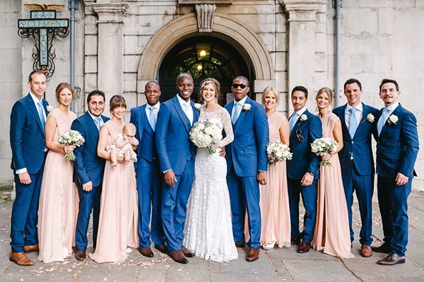 Handsome blue suits for your groom and groomsmen