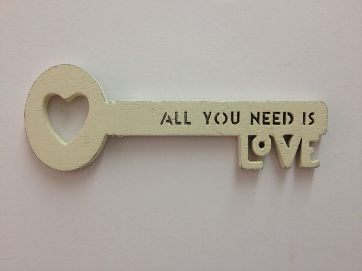 East of India All you need is love Wooden Key £4.99 East of India wooden key cut and into the key are the words 'All you need is love' with a small cut out heart creating the prongs for your keys. A lovely gift for a loved one or for a couple on thier special day. Dimensions Approx: H: 3.5cm x W: 11cm x D: 0.5cm