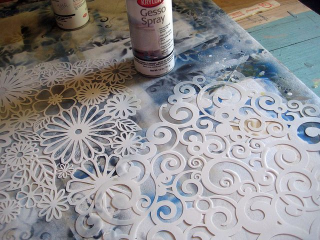 Spray gesso. Love this tutorial by Jane Davilla  - I didn't know gesso came in a spray bottle!  cool!