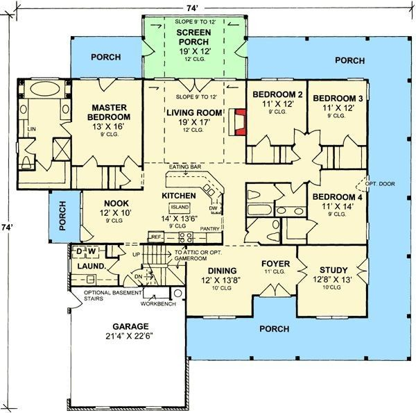 Stunning Design One Story House Plans With Wrap Around Porch One Story House Pla House Plans One Story One Story Homes Story House