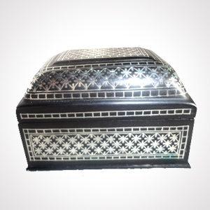 """Bidriware Box (7x3"""") 'Silver & Flower Work'   Alloy with silver inlaying   MRP-Rs.6250"""