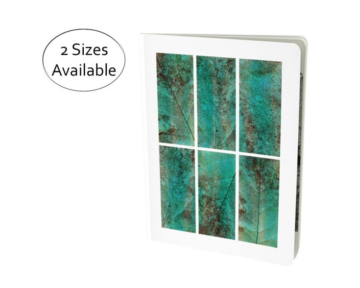 Give you favorite nature lover a stylish way to record their thoughts or sketch their finds. This notebook features six squares with a stylized macro image of a leaf in teal and brown. #Abstract #Leaves #Notebook, #Journal, #Diary, #Sketchbook #Workbook, #Green #Teal #Nature #etsy #etsyshop #etsyseller by WhimZingers on Etsy