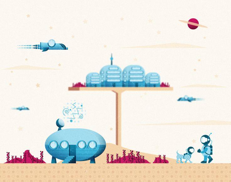 Espacio | Space Ilustración realizada por Bea P. Santana | Illustration by Bea P. Santana  Vector art