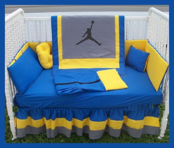 MICHAEL JORDAN Blue Yellow and Grey Crib Bedding Set $300.00