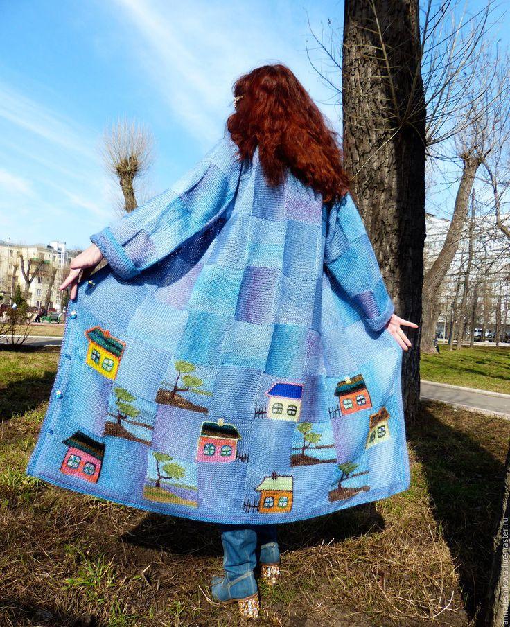 """Купить Пальто """"ДОМИКИ - 2"""" объемное голубое. Заказ. - вязаное пальто, авторское пальто, эксклюзив"""