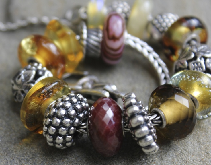 Ruby, Golden Quartz, and Amber  Trollbeads from Shady Lane.  #trollbeads #ShadyLane_Gifts