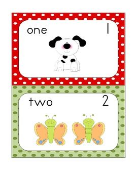 Set of 11 cards featuring the number word, numeral, and picture representation for numbers 0-10. Cute pictures, colorful background, and a kid-friendly font make these perfect for young learners! These can be used for counting, sequencing, and word identification.