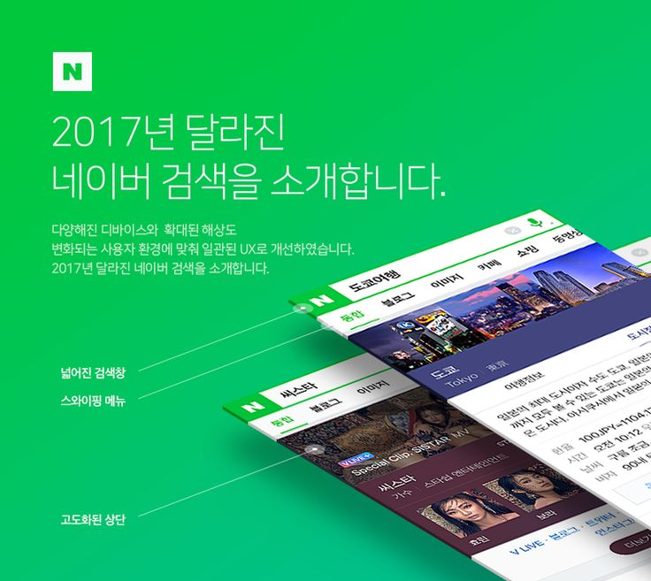 2017년 달라진 네이버 모바일 검색을 소개합니다 메인&검색설계 스튜디오 다양해진 디바이스와, 확대된...