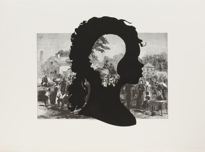Kara Walker.Exodus of Confederates from Atlanta,from the portfolioHarper's Pictorial History of the Civil War (Annotated). 2005