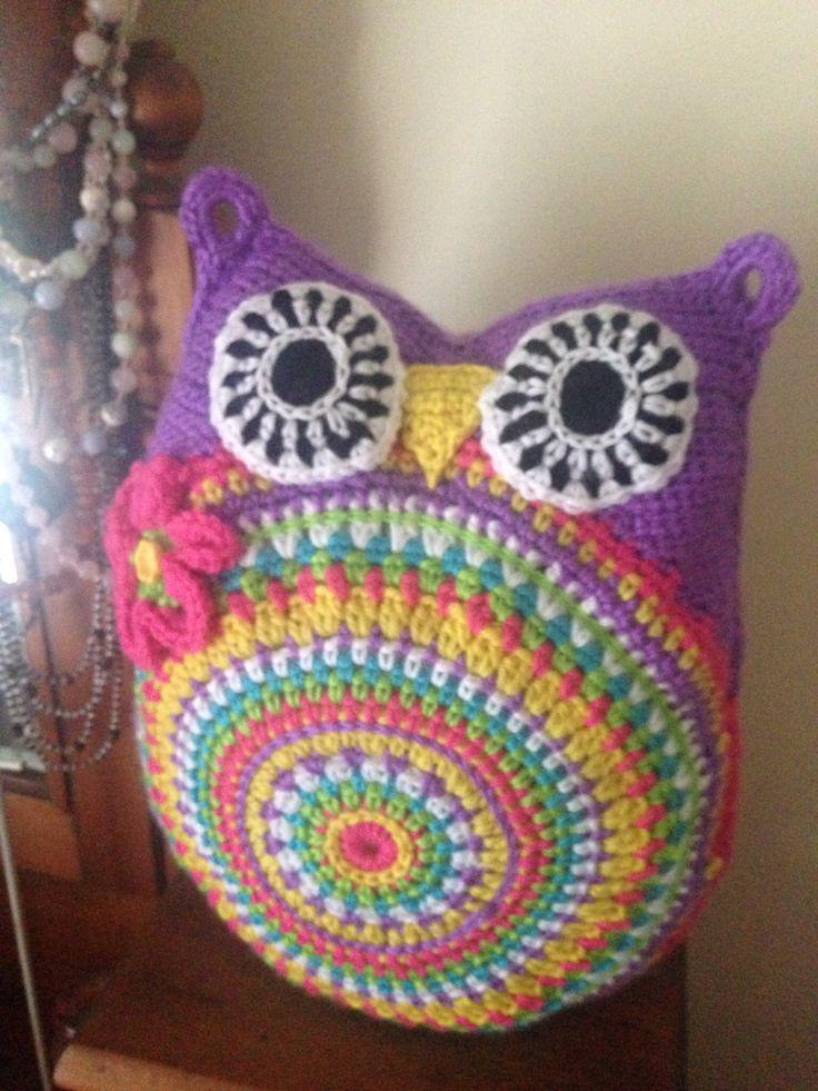 Purple rainbow crochet owl