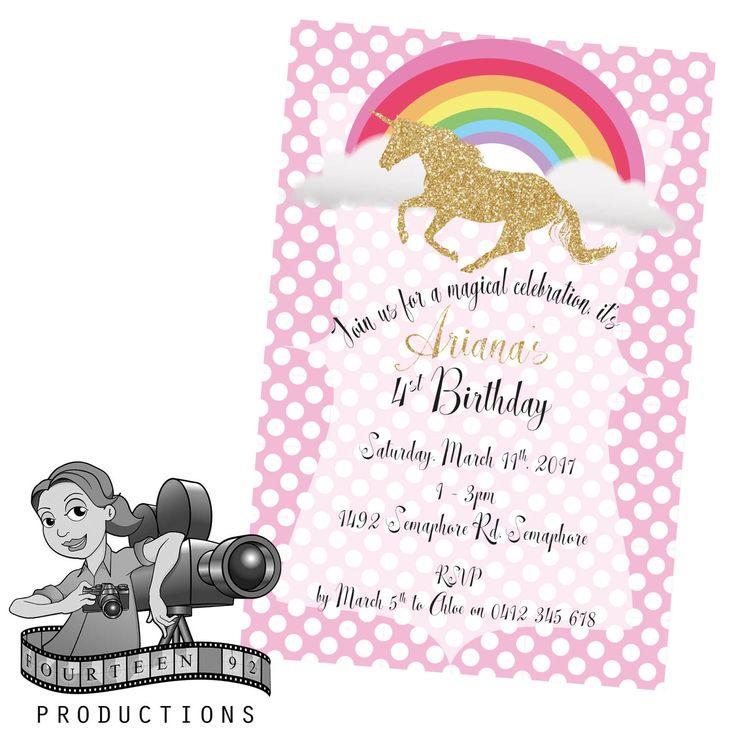 Rainbow Unicorn Invites by fourteen92prod on Etsy https://www.etsy.com/au/listing/520036111/rainbow-unicorn-invites