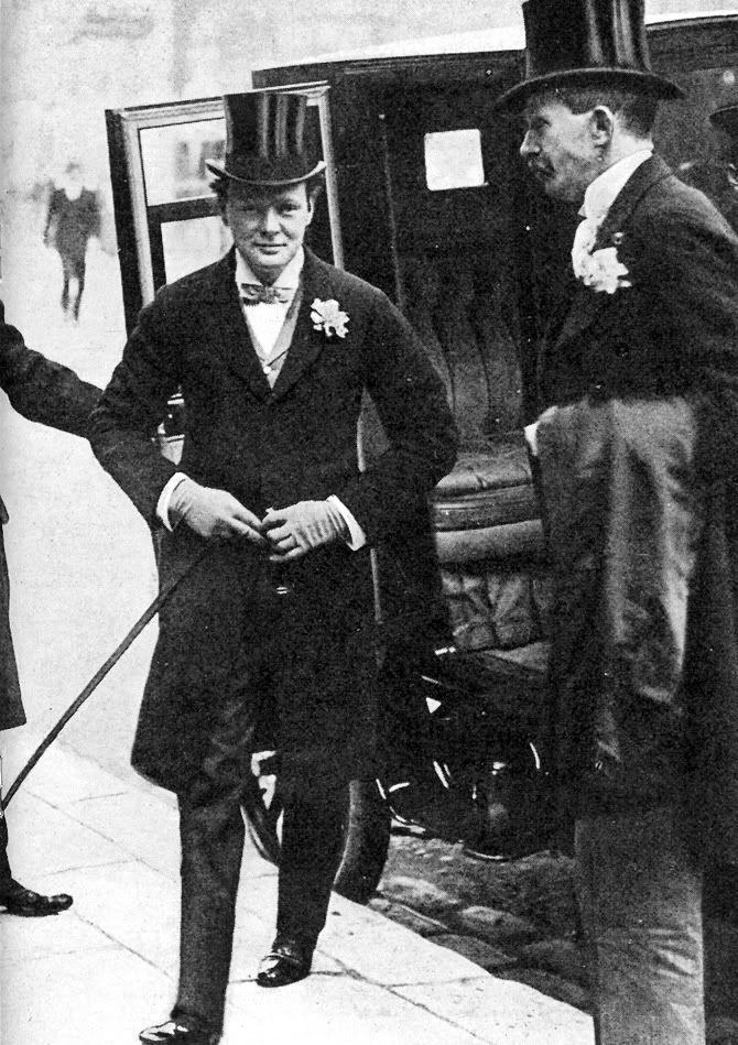 Winston Churchill on his way to his own wedding at St. Margaret's Church on 12…