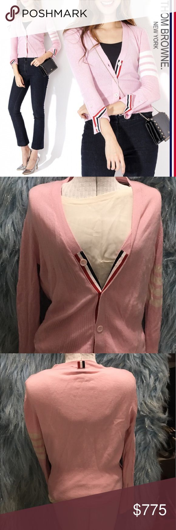 Thom Browne strip accent cardigan Beautiful! Euc! Please feel free to ask any questions and as always offers are welcome! Bundle and save!!! Thom Browne Sweaters Cardigans