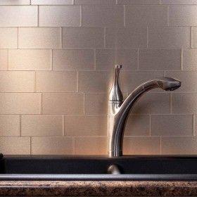 Aspect Backsplash 3x6 Brushed Champagne Long Grain Metal Tile
