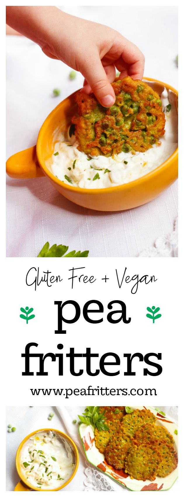 Deliciously fresh and golden Gluten Free Pea Fritters. Perfect as an afternoon snack for the kids! www.peafritters.com