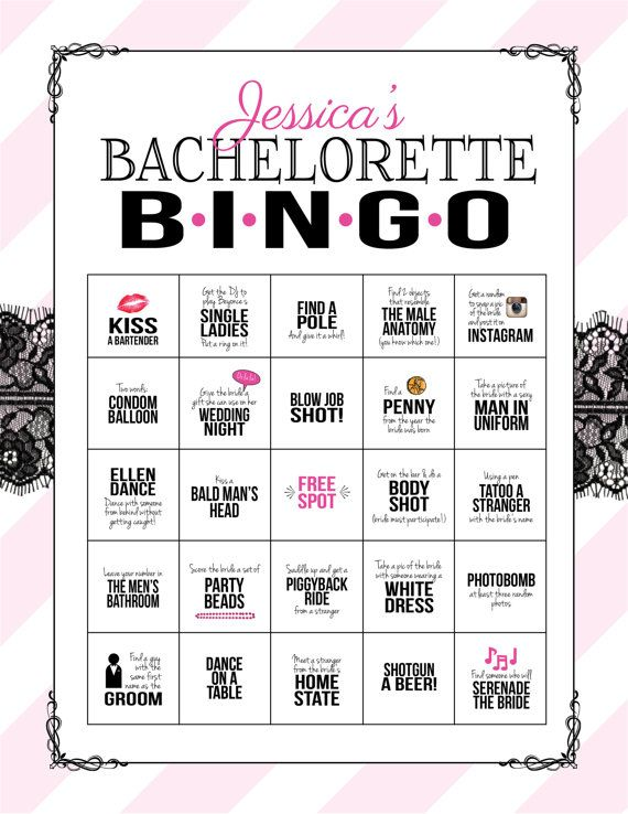 Bachelorette Party Game Bingo Dare Sheet by SweetBeeShoppe on Etsy
