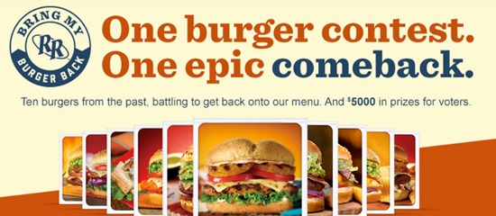 Red Robin Bring My Burger Back sweepstakes – Enter to win a $50 Red Robin gift card!  Ends 12/5