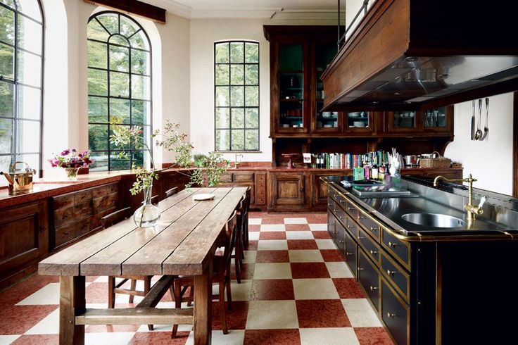 The kitchen of a Belgian château by Axel Vervoordt: Dining Rooms, Kitchens Window, Country Houses, Kitchens Design, Dreams Kitchens, Axel Vervoordt, Tile, French Country Kitchens, Architecture Digest