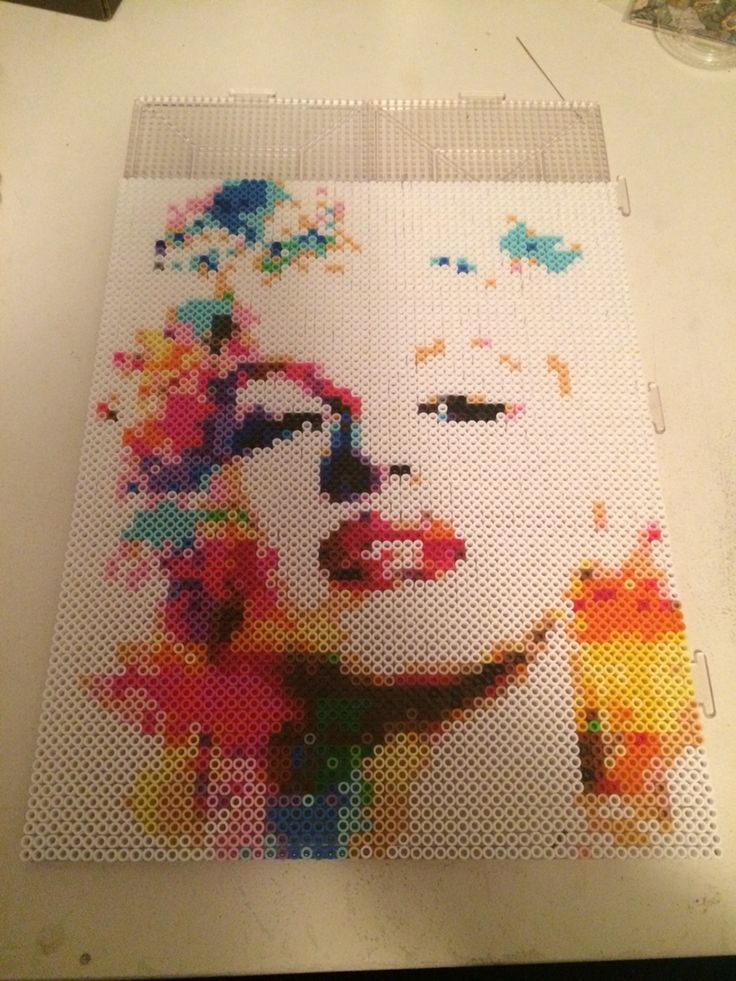 Marilyn Monroe perler bead portrait. Just one of the many pieces made by our amazing team at www.artistic-avenue.com. Head on over to get your own custom order made today!