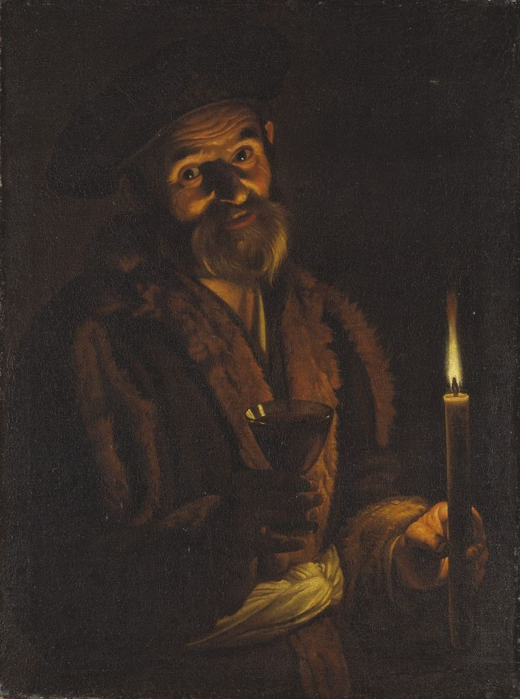 AN OLD MAN HOLDING A GLASS AND A CANDLE. oil on canvas.