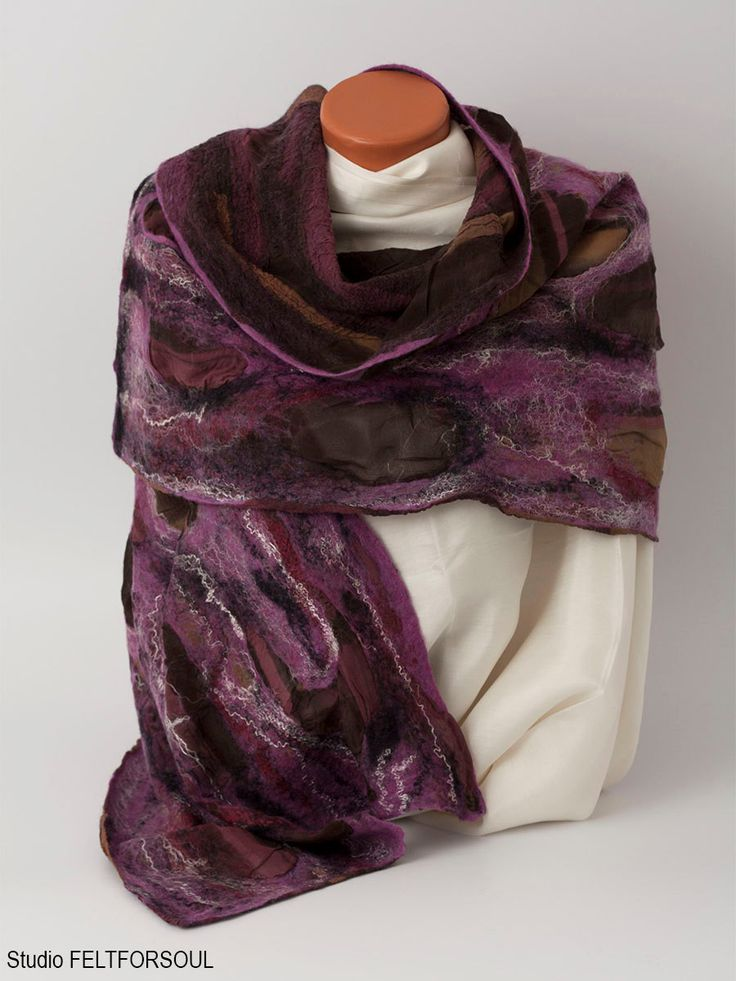 Silk scarf with merino wool for stylish women, scarf, stole, shawl, clothing, for women, wool, silk, clothing of wool, felting, woolen scarf by Feltforsoul on Etsy
