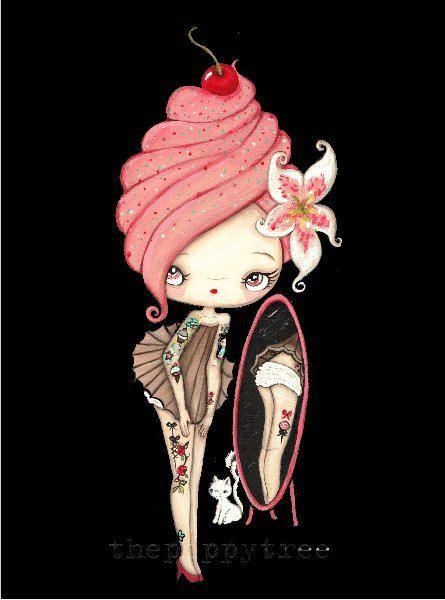 Cupcake stampa tatuaggio ragazza riflessione gatto di thepoppytree