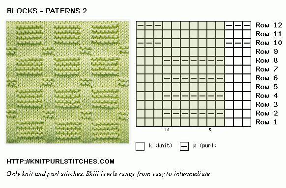 Block knit purl chart
