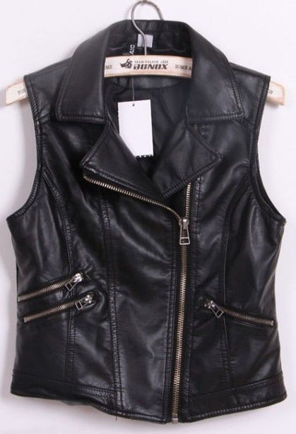Black Notch Lapel Biker Vest