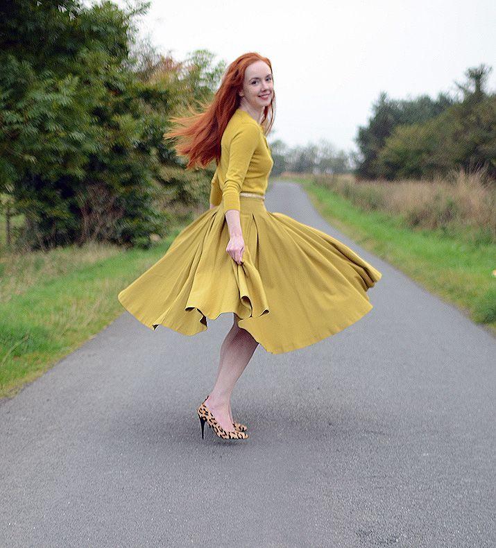 Yellow full skirt dress