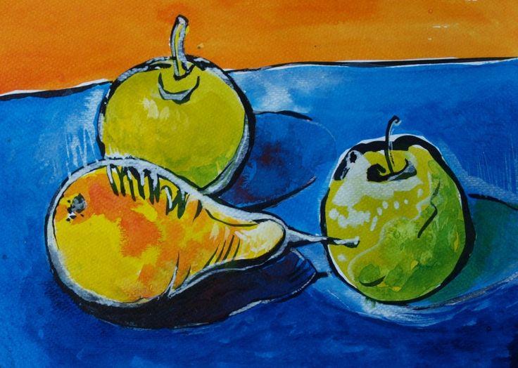 APPLES AND PEAR III (Painting) przez ANNA  BARDZKA Ink drawing 17 x 21cm
