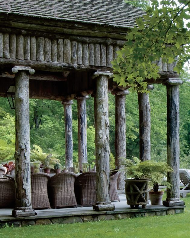"""""""Greek Revival"""" Pool house of Bunny Williams, Connecticut - collected by linenandlavender.net - http://www.pinterest.com/linenlavender/ll-collection-no-11/"""