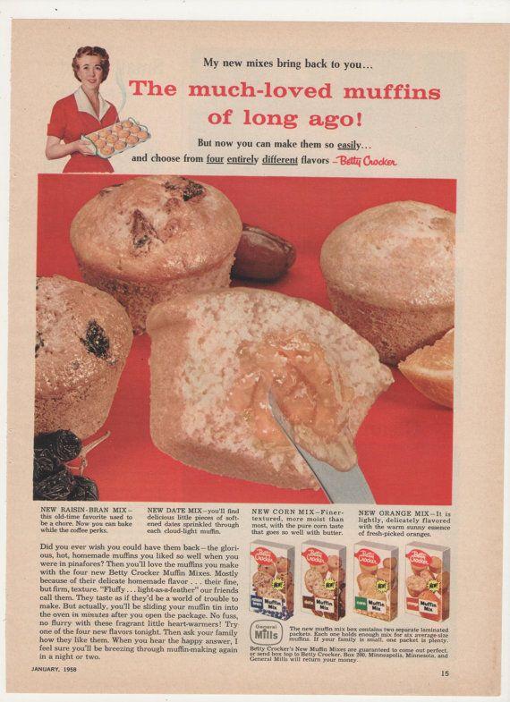1958 Betty Crocker Muffin Mixes Advertisement 50s Food Kitchen Diner Coffee Shop Restaurant Wall Art Decor