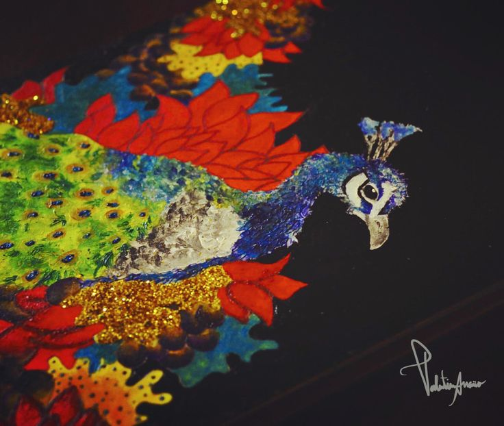 Contando una historia   #ValentinArraño #paint #color #pavoreal #peacock #art #japaneseart