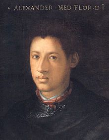"Alessandro de' Medici (1510 – 1537) called ""il Moro"" (""the Moor""), Duke of Penne and also Duke of Florence (from 1532), ruler of Florence from 1530 until 1537, when he was assassinated. Though illegitimate, he was the last member of the ""senior"" branch of the Medici to rule Florence and the first to be a hereditary duke. This portrait hangs in the Uffizi."