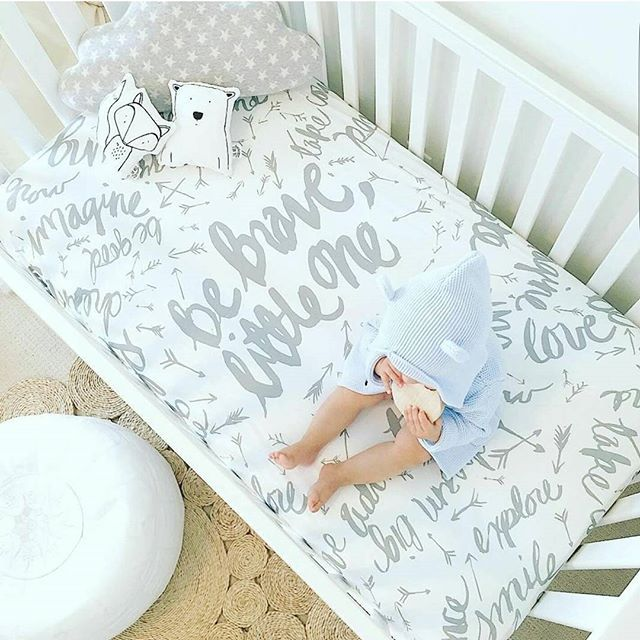 Be Brave Little One. Organic Cotton crib sheet. Scandinavian styled nursery.
