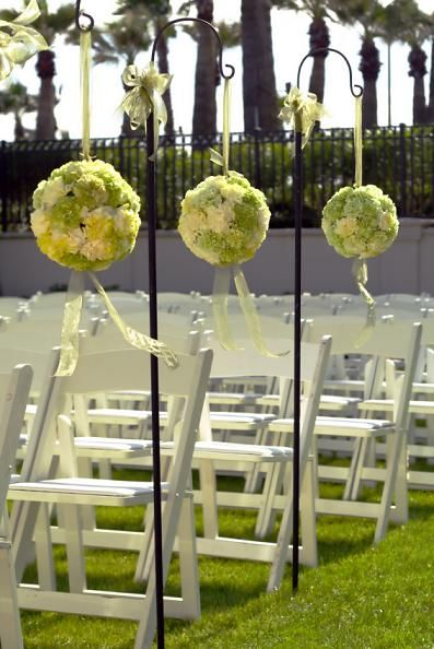 Aisle balls 1 sm.jpg: Outdoor Wedding, Flowers Ball, Shepards Hooks, Shepherd Hooks, Wedding Aisle, Wedding Decor, Hanging Flowers, Outside Wedding, Aisle Decor