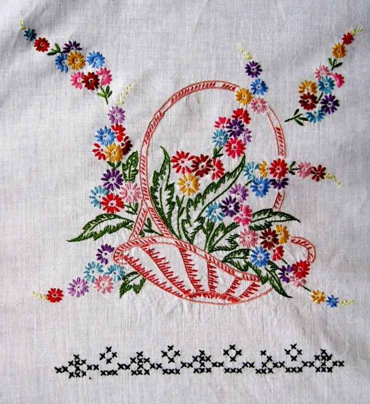 This style of embroidery will forever remind me of my mom. What embroidery I do know I learned from watching her.The only stitch she did teach me, however, was the French Knot...elsa doucette